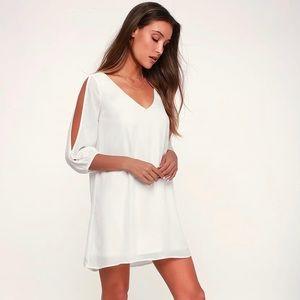 Lulu's Shifting Dears Ivory Long Sleeve Dress
